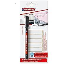 Edding nombre cinta Kit de lavandería–Kit incluye Edding 141F permanente rotulador para tela y en blanco para planchar nametape–perfecto para la escuela uniformes, casas ETC. Pen + 50 Labels