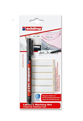 Edding Wäsche-Markier-Set mit dem Permanent-Textilmarkierungsstift Edding 141F und Blanko-Etiketten zum Aufbügeln, ideal für Schule, Uniformen, Pflegeheime usw Pen + 50 Labels