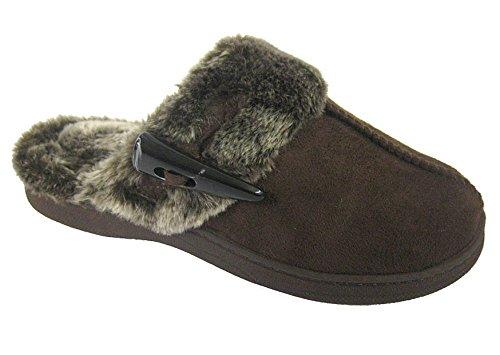 Coolers Premier Clog Plüsch-Pantoffeln, Größe 37-42 Braun