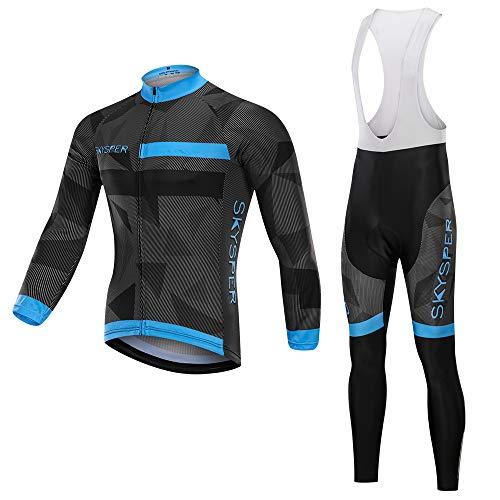SKYSPER Maillot de Cyclisme Manches Longues + Pantalons à Bretelle avec 3D Gel Rembourré Homme Cyclisme Jersey Respirant Séchage Rapide Automne/Printemps Taille XL