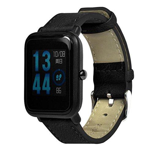 Reloj Correa para Xiaomi huami amazfit bip jóvenes reloj, vneirw Retro Piel Hombre Mujer Reloj Correa de reloj inteligente banda correa pulsera muñeca watchband con adaptador y cierre de acero inoxidable, color negro