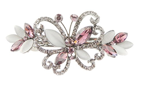 Damen 7,5cm Vintage Optik Kristall blickdicht Haarspange Schmetterling Pink