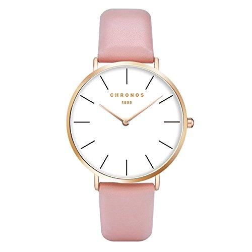 Unisex Uhren Groß Runde Quarzwerk Damenuhren Herrenuhren für Damen und Herren Leder Metall Klassisches, Rosa-Rose Gold