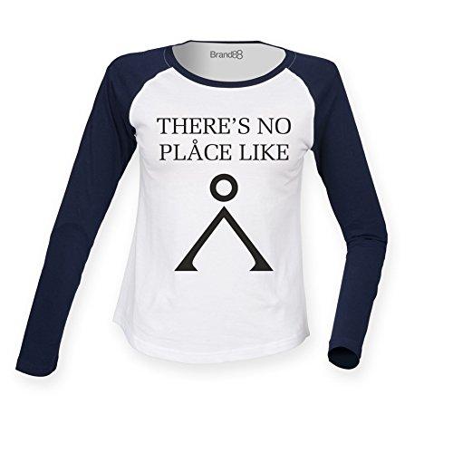 Brand88 - There's No Place Like, Damen Langarm Baseball T-Shirt Weiss & Blau