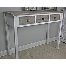 elbmöbel.de - Consola (madera), diseño vintage, color blanco y marrón