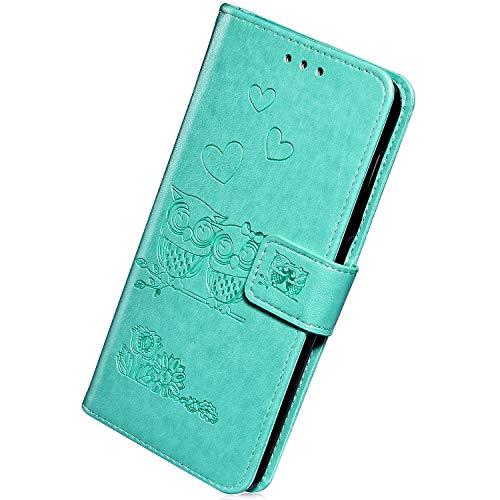 Herbests Kompatibel mit Samsung Galaxy S10e Hülle Handyhülle Flip Wallet Schutzhülle Vintage 3D Eule Liebe Blumen Motiv Muster Lederhülle Klappbar Stoßfest Leder Tasche Case Klapphülle,Grün