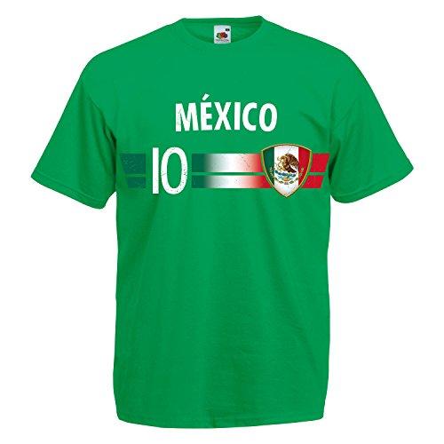 Fußball WM T-Shirt Fan Artikel Nummer 10 - Weltmeisterschaft 2018 - Länder Trikot Jersey Herren Damen Kinder Mexiko Mexico L -
