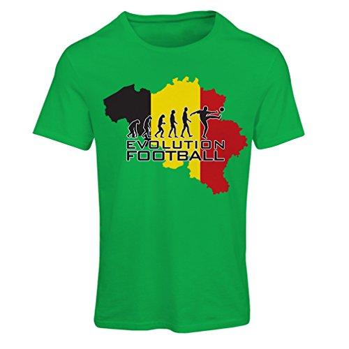 Frauen T-Shirt Evolution Fußball - Belgien, Die belgische Flagge (Medium Grün Mehrfarben) (T-shirt Startelf)