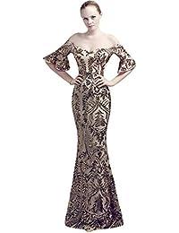 KELUOSI Vestito Donna Cerimonia Sera Fiori di Perline Lusso Abiti Cocktail  Lunghe Abiti da Sposa Vestiti 86629adbd34