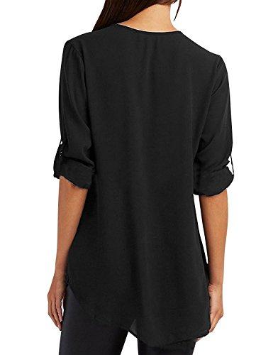 Tuopuda Mujer Blusas Camisa Cuello V Camisetas Cremallera