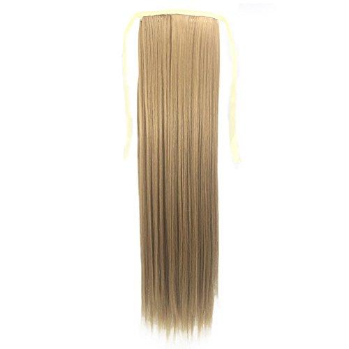 Haarteil Zopf Pferdeschwanz glatt Haarverlängerung hitzebeständig wie Echthaar cloom 55 cm Krawatte Seil Pferdeschwanz lange gerade Haarteil Clip in Extensions Glatt Ponytail Extensions günstig (C)