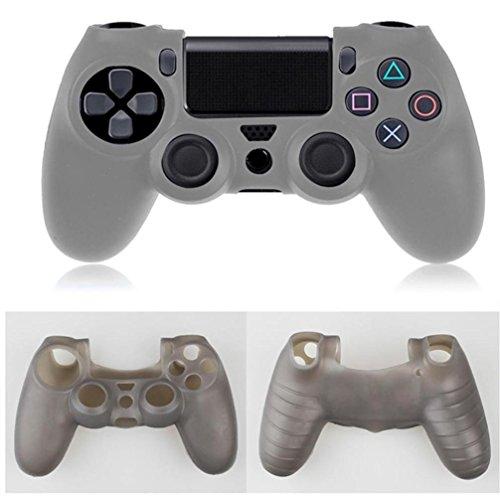 Sansee Zubehör Hochwertige Weiche Silikon Kasten Abdeckung Hüllen für Playstation PS4 Controller (Grau)