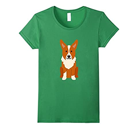 Welsh Corgi Cardigan Dog Shirt Dogs Mom Dad Puppy Pet Gift Damen, Größe L Grün (Welsh Cardigan)