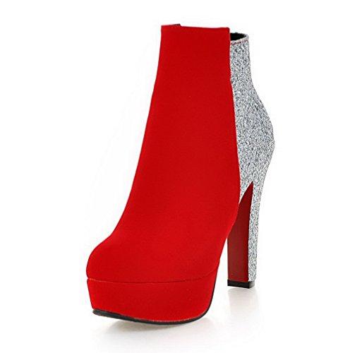 AgooLar Damen Gemischte Farbe Niedriger Absatz Reißverschluss Rund Zehe Stiefel, Rot, 38