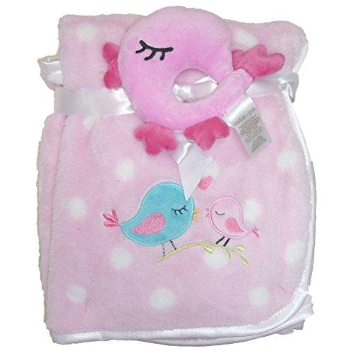 Cutie Pie Baby kuschel Decke mit Plüsch Rassel Vogel Pink Rosa Punkte Mädchen