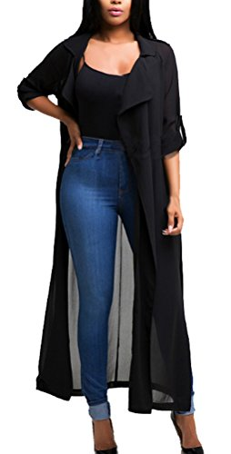 Blansdi Damen Chiffon Cardigan Cover up Tops Bluse Lose Langarmshirt Elegant Sommer Maxi Offene Mantel Outwear Party Cocktail Strandkleid mit Gürtel Chiffon Mantel