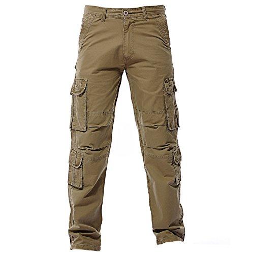 Jungen Khaki (Sunshey Jungen Herren Cargohose Lang Arbeitshose aus Baumwolle mit mehrere Tasche Outdoor hochwertig, Khaki, DE 54/Etikette 38)