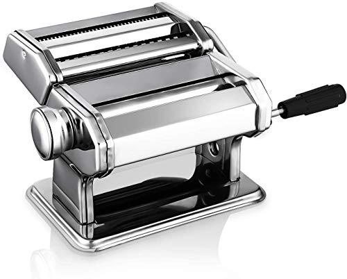 Nudelmaschine Pasta Maker Edelstahl Frische Manuell Pasta Walze Maschine Cutter mit Klemme für Spaghetti Nudeln Lasagne - Einfache Reinigung und Verwendung Pastamaschine Nudel Maschine Geschenk Set