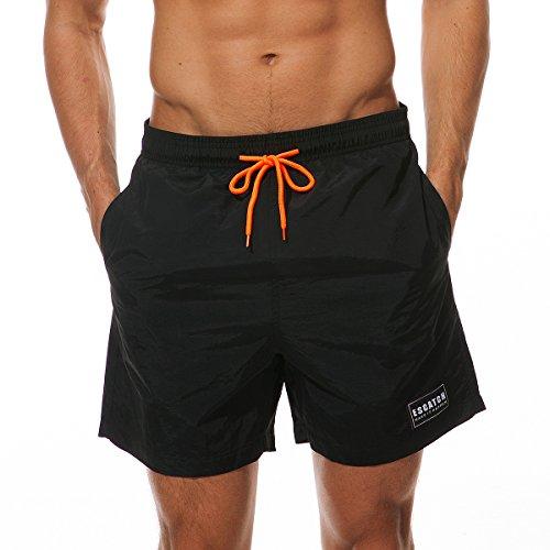 MODCHOK Homme Shorts de Bain Plage Natation Boxer Pant Court de Sport Beach Séchage Rapide ,2-Noir ,EU S / CN M