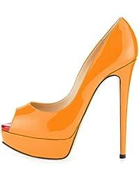 EKS - Zapatos de tacón fino Mujer , color Naranja, talla 36 EU