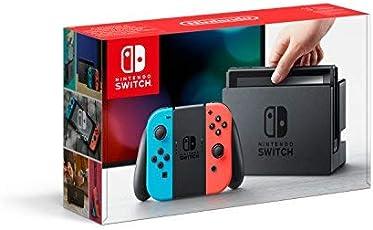 Nintendo Switch - Konsole (Joy-Con Grip, Joy-Con Wrist Straps, High Speed HDMI Cable, neon rot/blau)