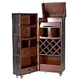 BUTLERS HEMINGWAY Kofferbar aus Holz 150x60 cm in Braun - Barschrank inklusive Tablett