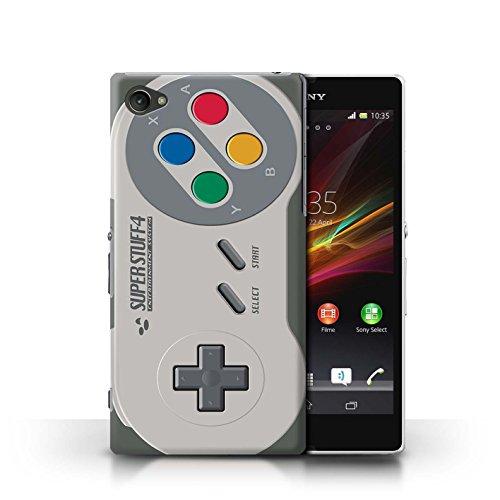 KOBALT® Hülle Case für Sony Xperia Z1 Compact | Klassisches Nintendo Entwurf | Spielkonsolen Kollektion Super Nintendo