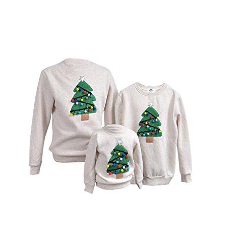 LLQ Sweat Shirt de Noel Famille Garçon Fille Pulls Femme Homme Enfant Hiver Sweatshirt Famille Manches Longues Noël Petit Pompon Tops Femme(Gris clair)