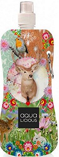Preisvergleich Produktbild AQUA-LICIOUS Faltbare Trinkflasche mit Karabiner, Wiederverwendbar, viele Motive (Oh Deer)