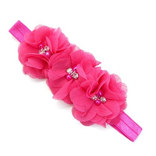 erthome Stirnband, Baby Mädchen Bowknot Haarband Set 3Pcs Kinder elastisches Blumen Stirnband Haarband (Chiffon Blumen Rosa)