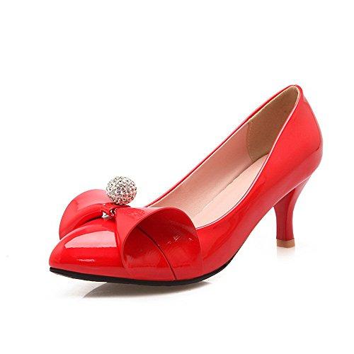 VogueZone009 Donna Pelle Di Maiale Scarpe A Punta Punta Chiusa Tacco Medio Tirare Puro Ballerine Rosso