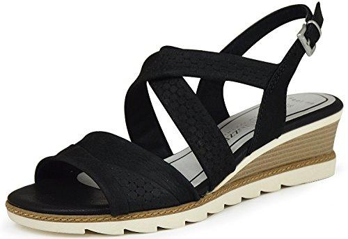 MARCO TOZZI Damen Sandalette KEIL schwarz LEDER GELSOHLE (39, black antic)