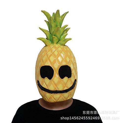 QJKai Fruit Ananas Maske lustig Spielen Prom Ball Party Party Helm Halloween Latex lustige Maske