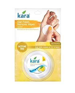 Kara Lemon Nail Polish Remover Wipes, 30 Count