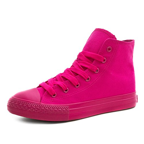Klassische Unisex Damen Herren Schuhe Low High Top Sneaker Turnschuhe All Pink High