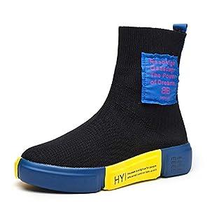 FMWLST Stiefel Damen Stiefel Flache Stiefel Damen Atmungsaktive Socken Damenschuhe Stretch-Stricken Freizeitschuhe In Kleinen PUstiefeln