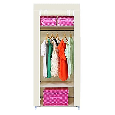 [2016 New Release] HST Mall Wooden Single Canvas Wardrobe with Hanging Rail Bedroom Furniture Storage Solution 174 x 69 x 43 cm Multiple color - cheap UK light shop.