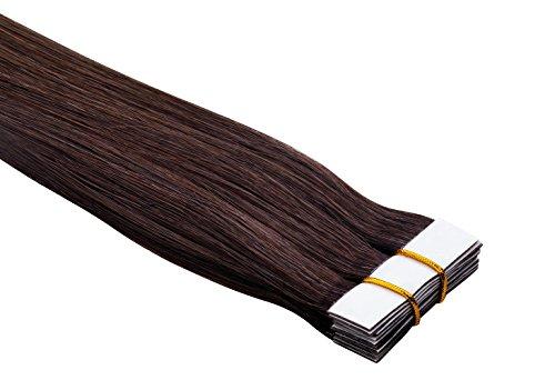 """Echthaar Tape On / In Extensions Haarverlängerung 50cm 10 Tressen \""""Senses\"""" mit dem extra starken WEISSEN TAPE (04 - mittelbraun)"""