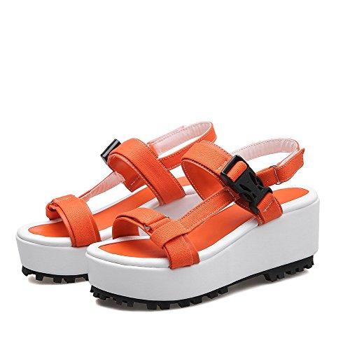 Odomolor Femme à Talon Correct Couleur Unie Ouverture D'Orteil Matière Souple Velcro Sandales Orange