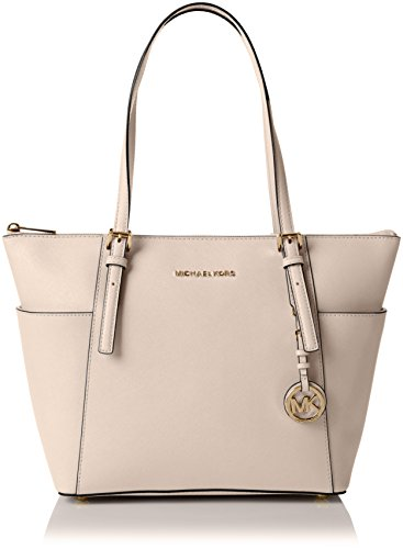 Michael Kors Damen Jet Set Top-Zip Saffiano Leather Tote, Pink (Soft Pink), 39 x 27 x 15 cm (Rosa Soft-handtasche)