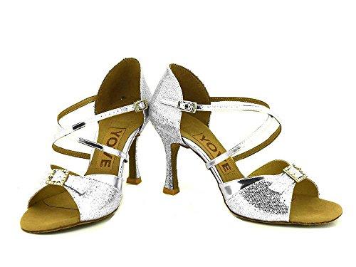 Yff Chaussures De Danse Latine Pour Femmes Chaussures De Danse Argentées