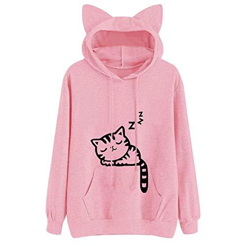 82f840b5ee Cooljun Damen Kapuzenpullover Katze Drucken Hoodie Langarm Sweatshirt mit  Katze Ohren Frauen.