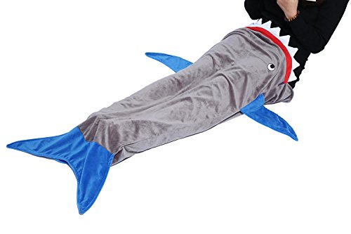 niceEshop(TM) Blankie Tails Shark Decke für Kinder Camping Youth Fleece Schlafsack, Grau
