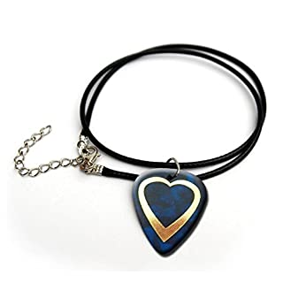 Heart Gold printed blue pearl guitar pick necklace 18