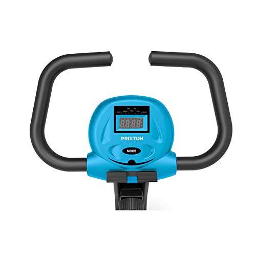 PRIXTON - Bicicleta Estatica Plegable con 8 Niveles de Resistencia, Ajuste de Asiento, Soporte para Tablet/móvil Integrado, Pantalla LED con Velocidad, Tiempo, Distancia, calorías   Bike Fit BF100