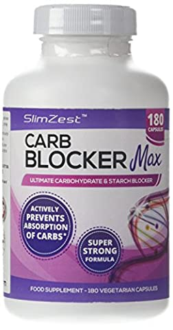 SlimZest Carb Blocker Max with White Kidney Bean Extract and Vitamin C, 180 Vegetarian Capsules