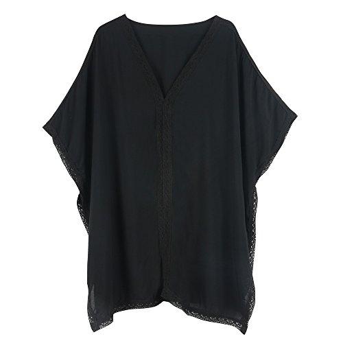 Walant Damen Strandkleid Einheit Größe Kleidung Strand Hemdkleid V-Ausschnitt Rock Schwarz