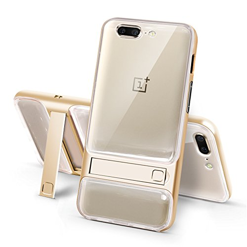 Sanchar's For 2in1 Kick Stand Shockproof Dual Layer Back Case Cover For Oneplus 5 / One plus 5 / 1+5 Case cover (Gold/transparent)