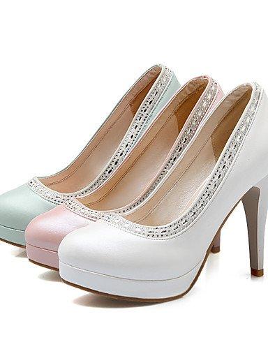 WSS 2016 Chaussures Femme-Bureau & Travail / Décontracté-Bleu / Rose / Blanc-Talon Aiguille-Talons / Bout Arrondi-Talons-Polyuréthane white-us10.5 / eu42 / uk8.5 / cn43