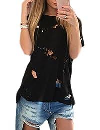 f58f56728699 Damen T-Shirts Sommer Frauen Casual Kurzarm Riss Loch Destroyed Tunika T-Shirt  Top